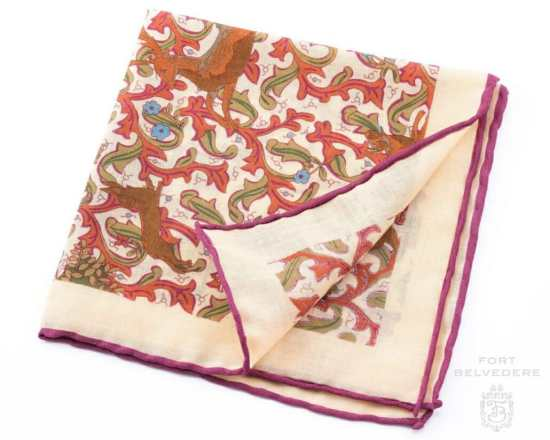Silk-Wool Pocket Square with Hunting Motifs - Fort Belvedere