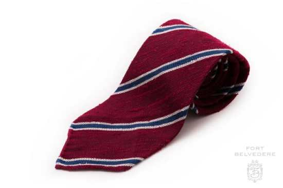 Shantung Striped Dark Red, Blue and White Silk Tie - Fort Belvedere