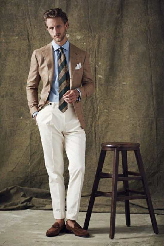 Cream trousers with tobacco
