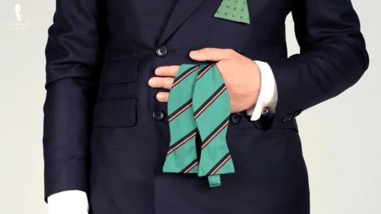 Turquoise repp stripe bow tie
