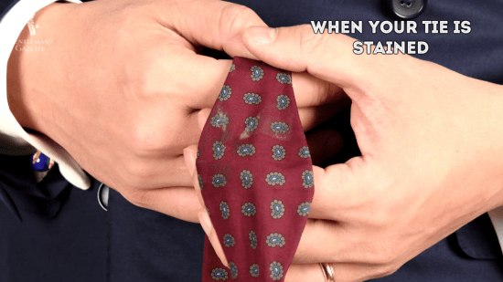 A stained tie is not a great sight