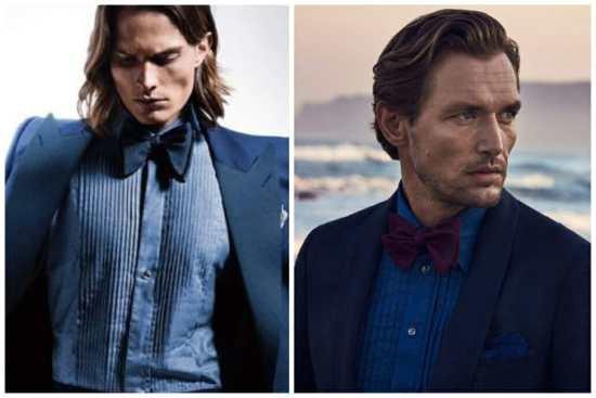 Two denim tuxedo shirts