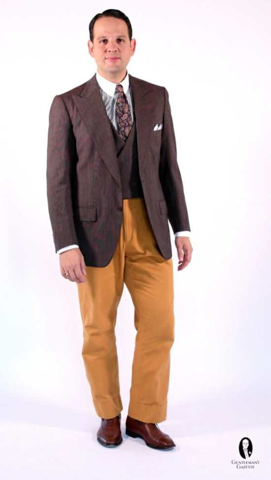 Spezzato Suit Jacket and Matching Vest with Contrasting Yellow Pants and Brown Oxfords
