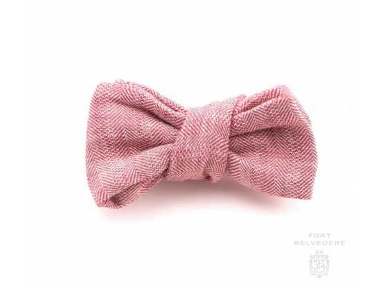 Herringbone Wool Red and Off-White Bow Tie Handmade by Fort Belvedere
