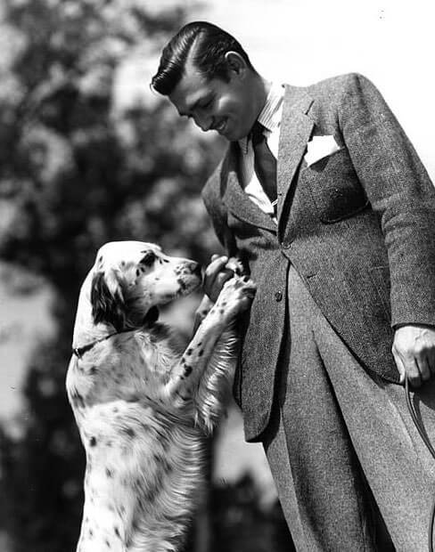 Clark Gable wearing high-rise trousers