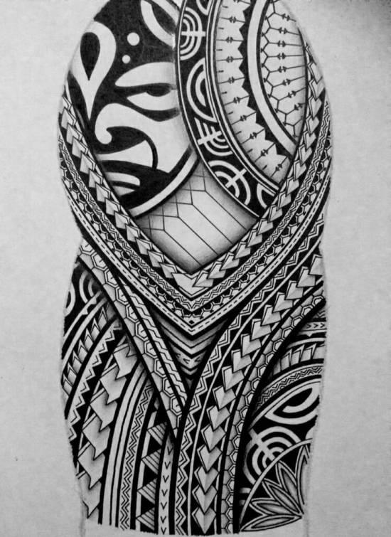 Polynesian half-sleeve tattoo