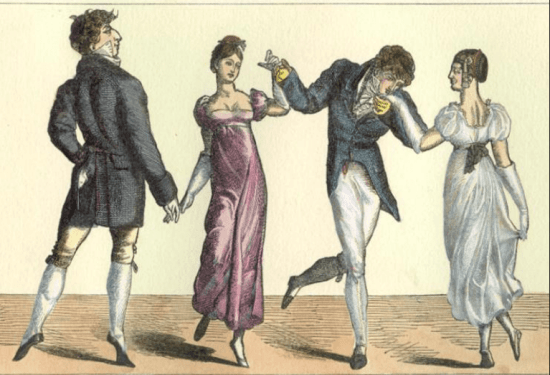 A pair of Regency gents at a ball wearing slippers