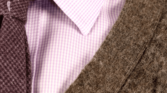 White and lavender puppytooth dress shirt