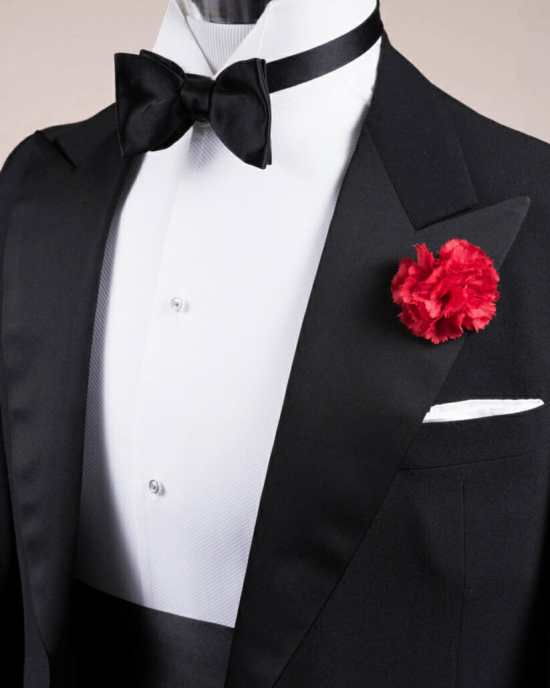 High quality silk satin lapel with bow tie and Cummerbund in Black Silk Satin with Red Carnation Boutonniere