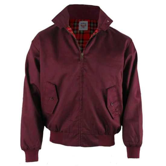 A modern Harrington jacket in burgundy.