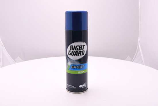 An antiperspirant spray from Right Guard (one of the most popular brands in the category).