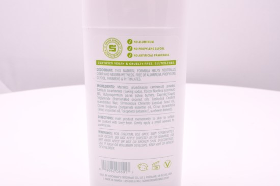 The backside of the natural deodorant, listing its ingredients and processes.