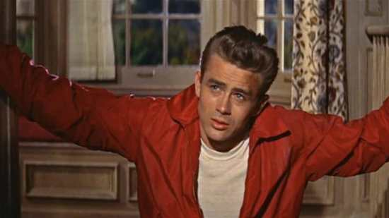 James Dean in his iconic ensemble from the 1955 film, Rebel Without a Cause.