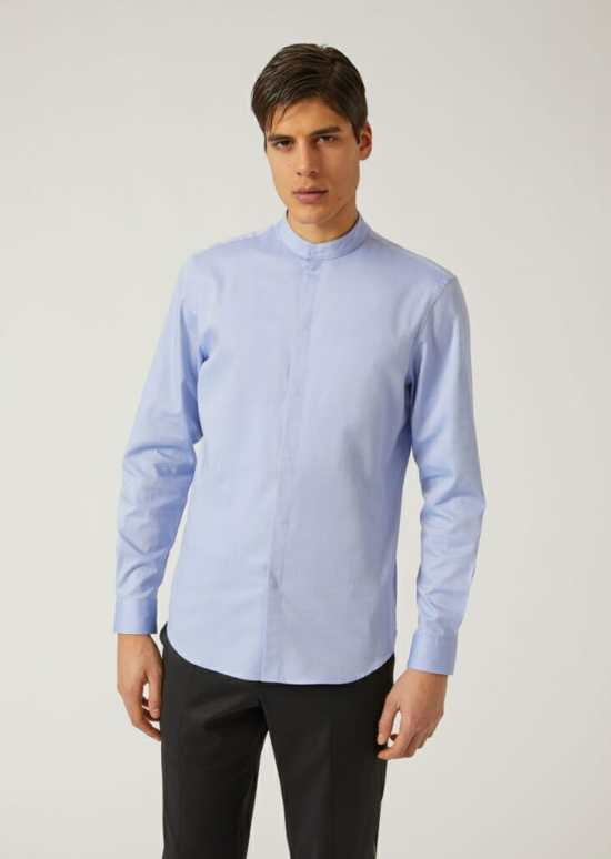 6145ce084da4 A band collar shirt from Emporio Armani