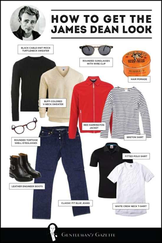 James Dean, Harrington jacket, denim blue jeans, white T-shirt, pol;o shirt, Breton shirt, V-neck sweater, mock-turtleneck sweater, engineer boots, sunglasses, eyeglasses, pomade