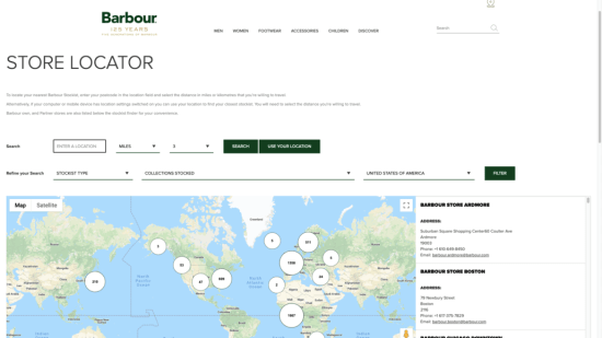 Barbour's store locator