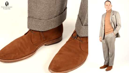 A Brown pair of suede boots to complete the neutral look