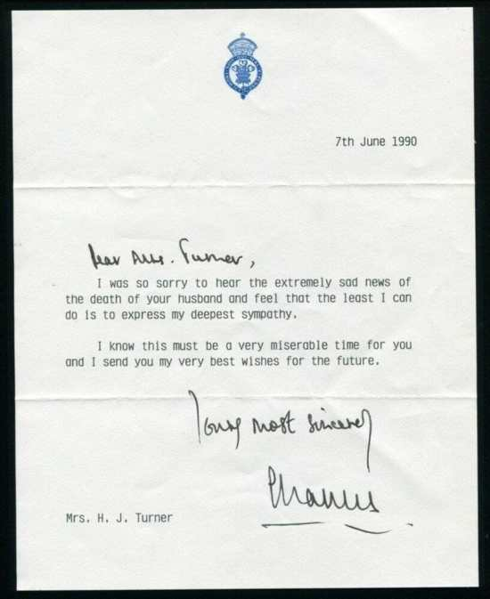 Condolence Letter from Prince Charles