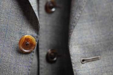Dark Brown Bull Horn Button Detail