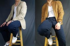 V-neck t-shirt with blazer and bomber outfits | GENTLEMAN WITHIN