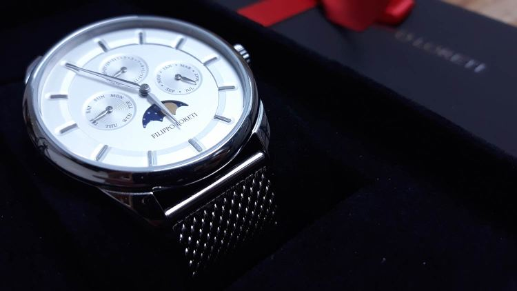 Filippo Loreti Venice Moonphase Silver Mesh Watch