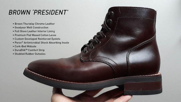 Brown President Plain Toe Boots