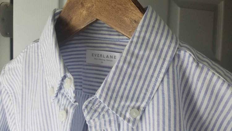 Everlane Japanese Slim Fit White Blue Stripe Oxford Shirt
