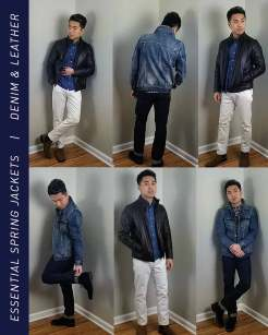 Leather Jacket and Denim Jacket Outfit Inspiration