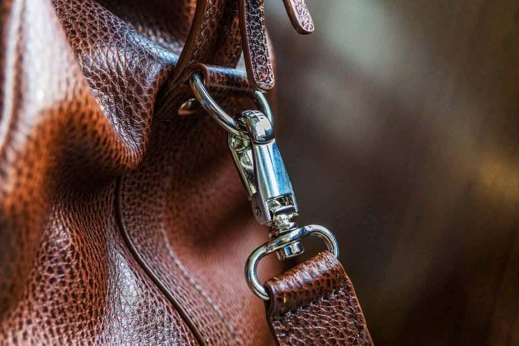 Davis Weekender Leather Bag Buckle Details