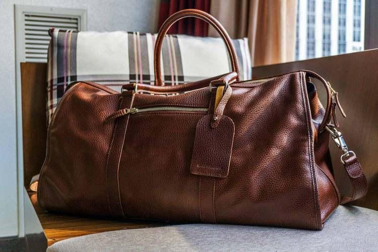 Beckett Simonon Davis Weekender Leather Bag Oxblood Colorway