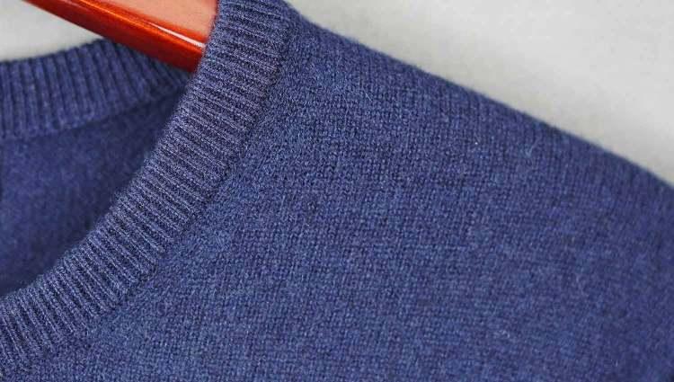 Bergen Navy Cashmere Sweater Details
