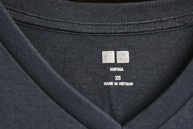 Uniqlo Supima Cotton T-Shirt Tag Made In Vietnam