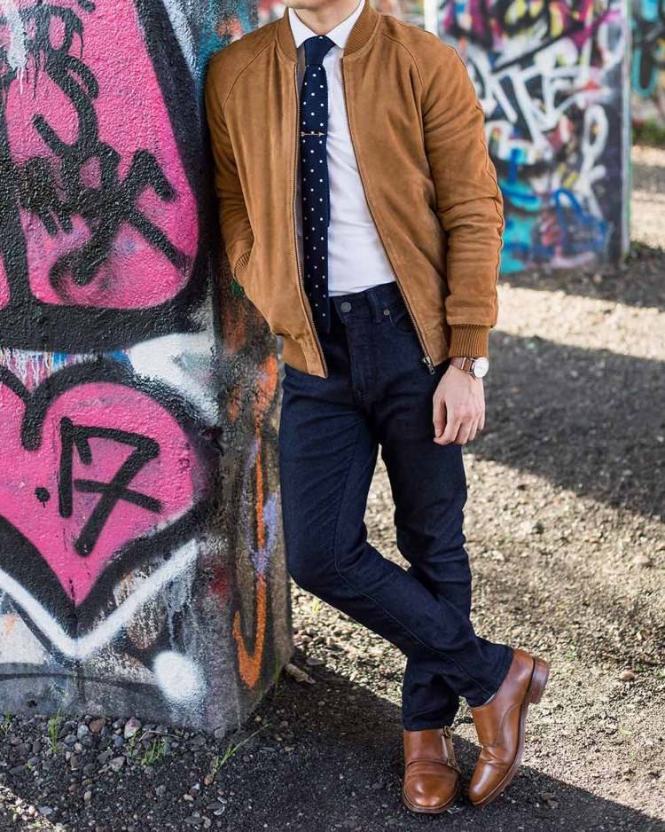 Smart Casual Bomber Jacket Outfit