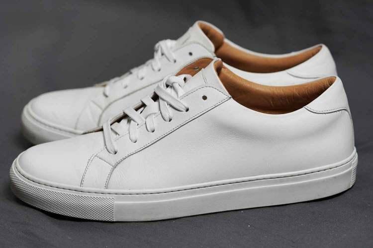 Ace Marks Duke White Leather Sneaker Side Profile