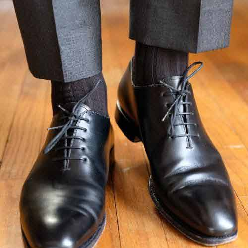 black socks shoes dark trousers