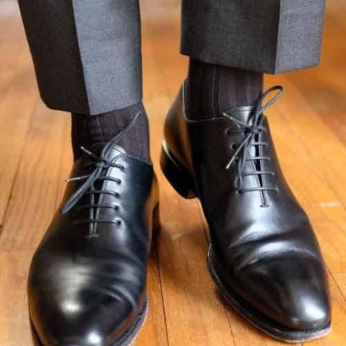 black socks shoes dark trousers