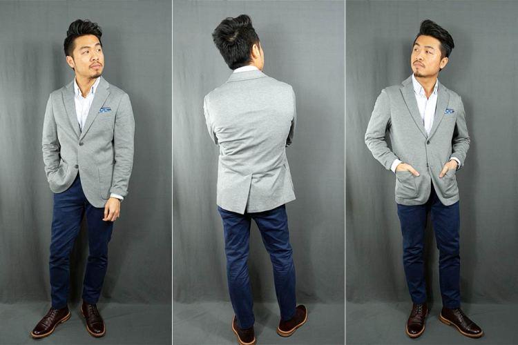 uniqlo comfort jacket fit light gray