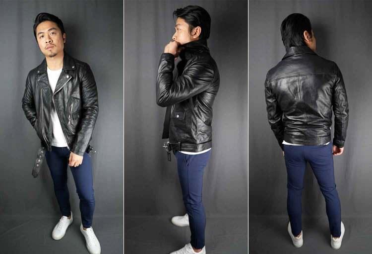 ASOS Barneys Originals Belted Leather Biker Jacket Fit