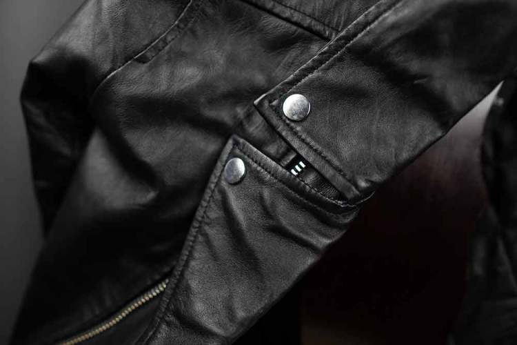 ASOS Barneys Originals Belted Leather Jacket Notch Lapel