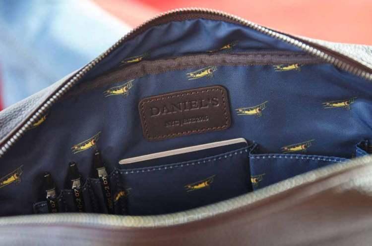 daniels leather bag airplane motif