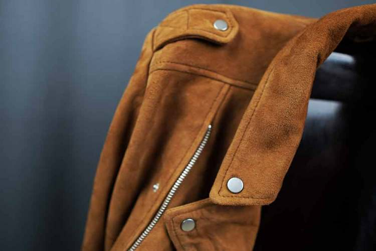 tan suede biker jacket details