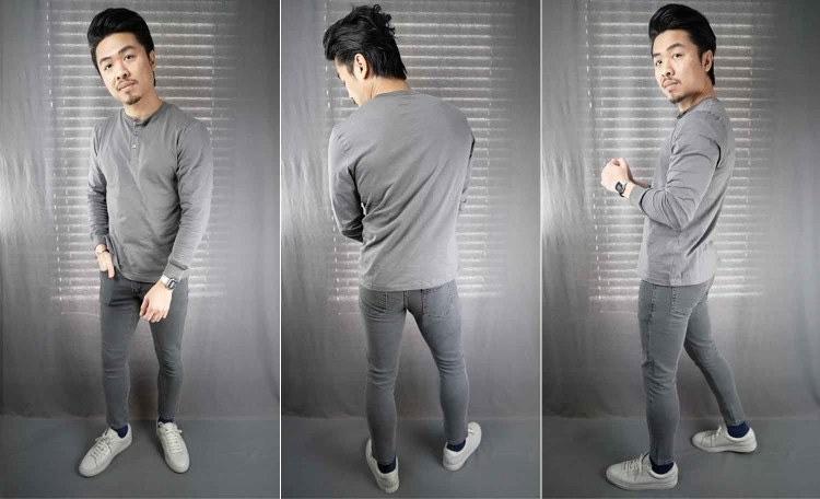 bruce slim tapered fit jean gray slub