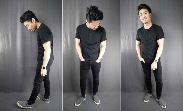 black short sleeve henley tee