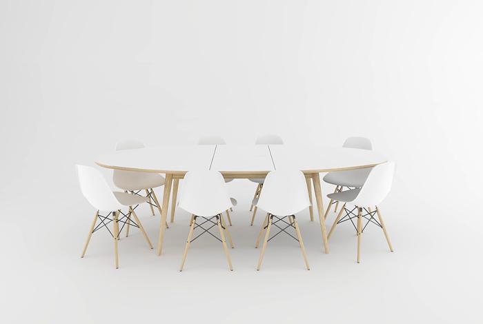 table ovale avec une rallonge centrale et un plateau blanc