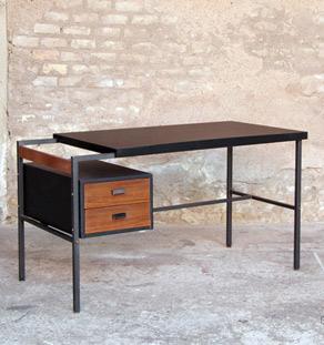 Bureau Vintage Scandinave Noir Et Tiroirs Teck