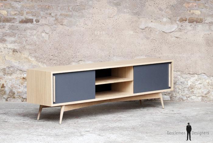 meuble tv enfilade en chene comprenant 2 portes et 2 niches