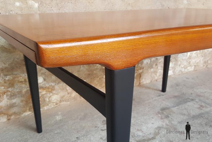 Table De Repas Vintage Rallonges Scandinave En Teck