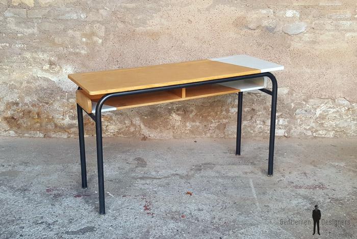 bureau d ecole ancien bois et metal gris clair gentlemen designers