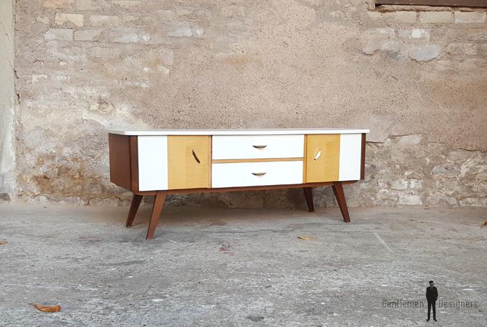 meuble tv vintage bois blanc portes et tiroirs pieds compas