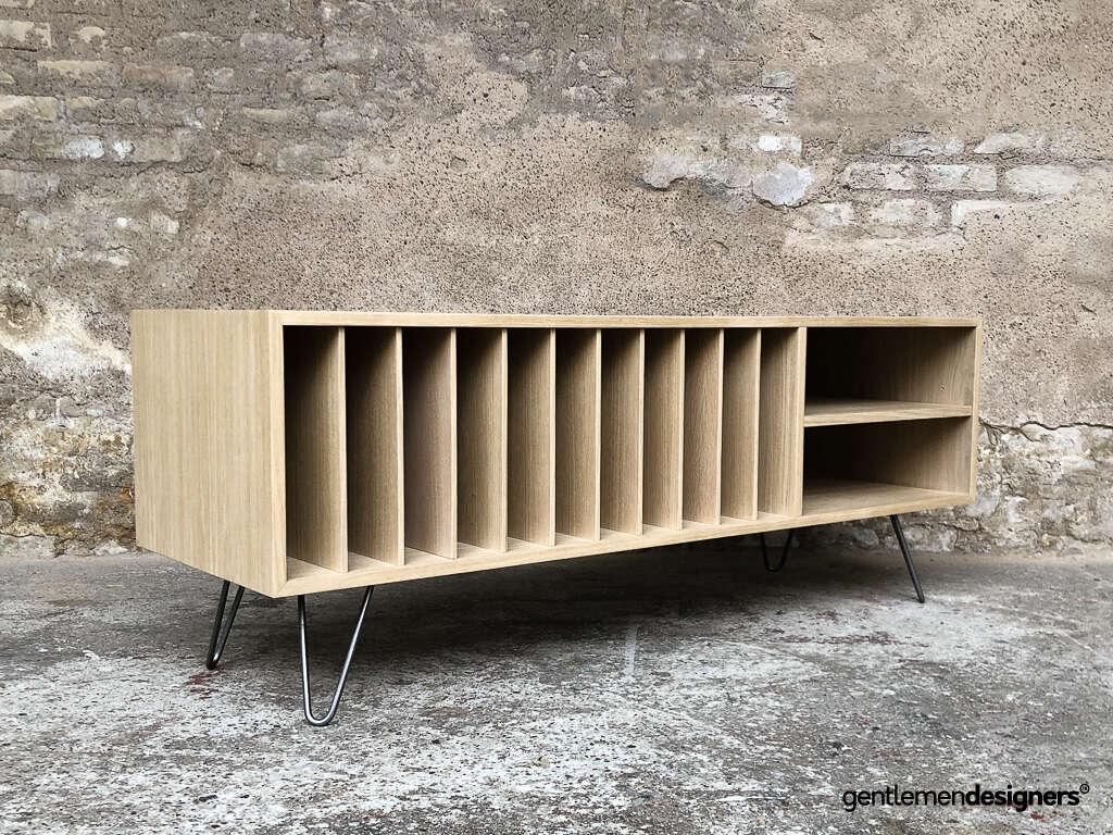 meuble de rangement vinyle ampli platine en chene massif